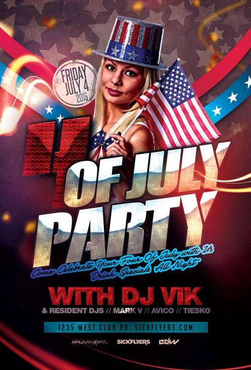 4th July Party psd flyer template