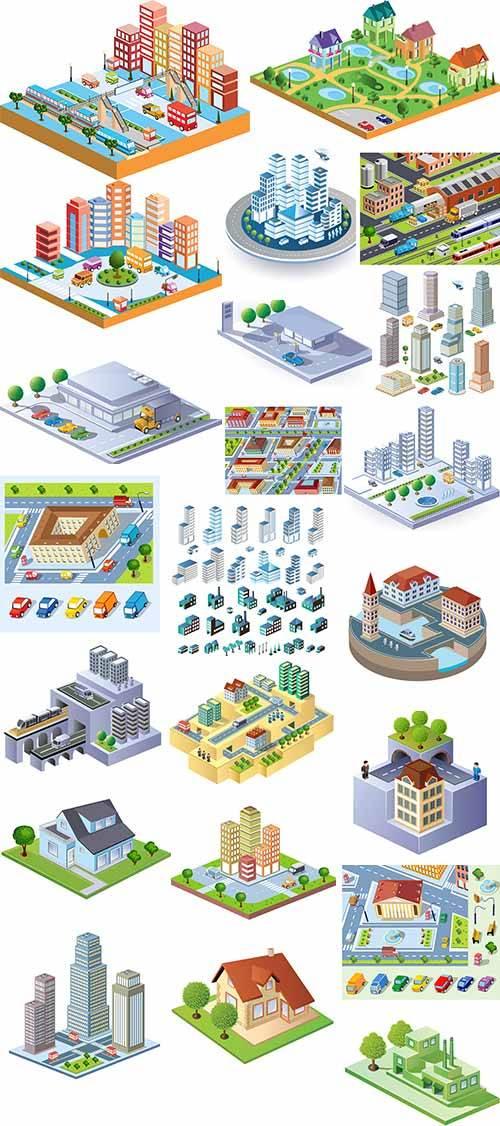 Жилые кварталы в 3D - Векторный клипарт / Residential areas in 3D - Vector  ...