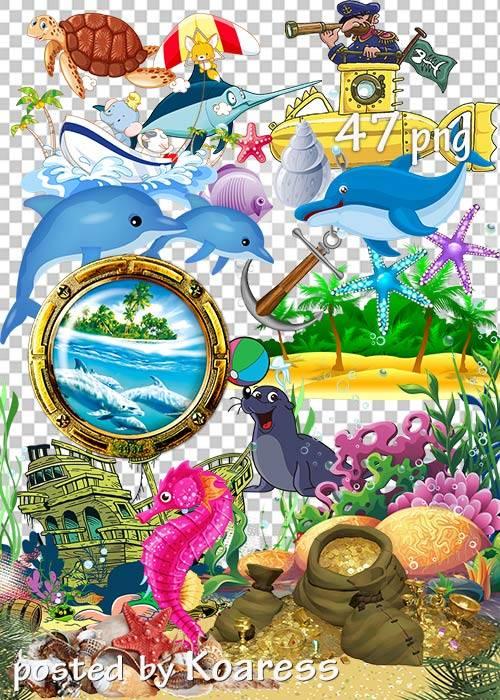 Морской летний клипарт для дизайна 2 - Marine summer clipart for design 2