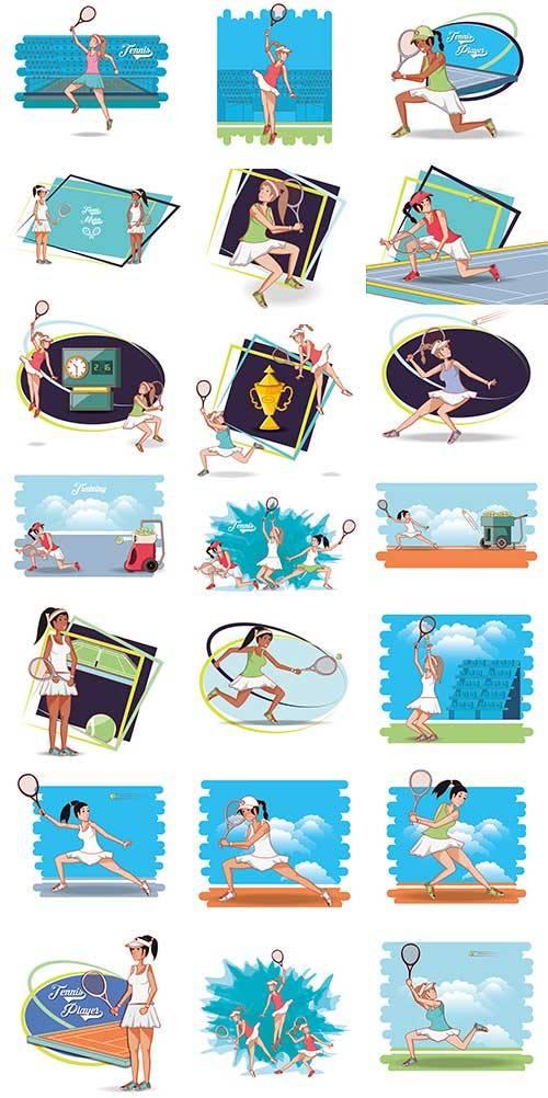 Девушка играет в теннис - Векторный клипарт / Girl plays tennis - Vector Gr ...