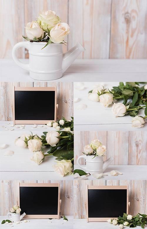 Белые розы - Растровый клипарт / White roses - Raster clipart