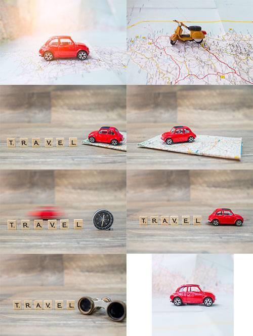 Путешествие на автомобиле - Растровый клипарт / Car Travel - Raster clipart