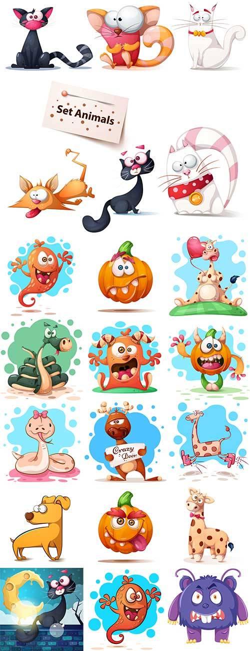 Смешные персонажи - Векторный клипарт / Funny characters - Vector Graphics