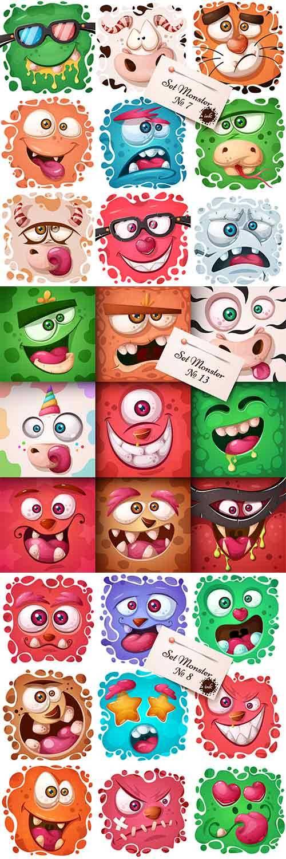 Забавные монстры - Векторный клипарт / Funny monsters - Vector Graphics