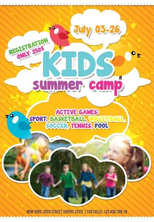Kids Summer Camp psd flyer template