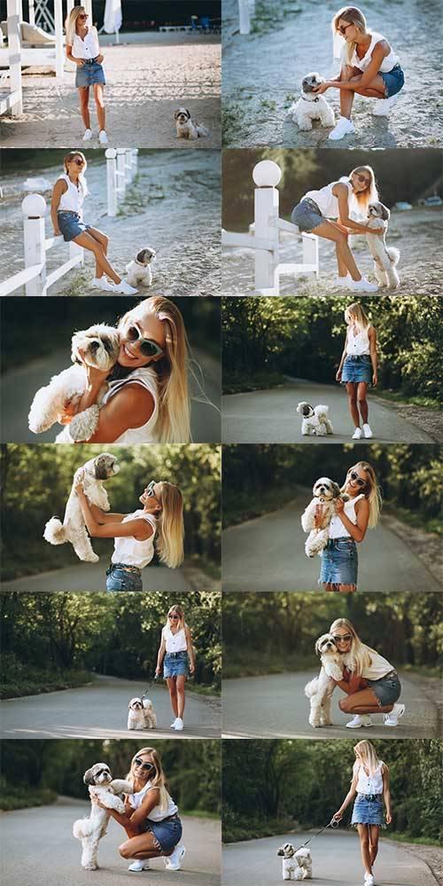 Девушка с собакой - Растровый клипарт / Girl with a dog - Raster clipart