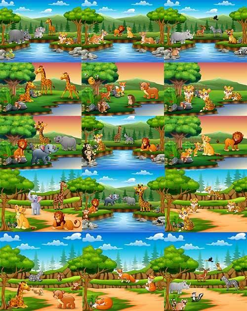 Животные в джунглях - Векторный клипарт / Animals in the jungle - Vector Gr ...