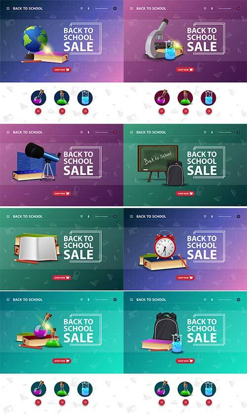 Design site interface with event back school in vector