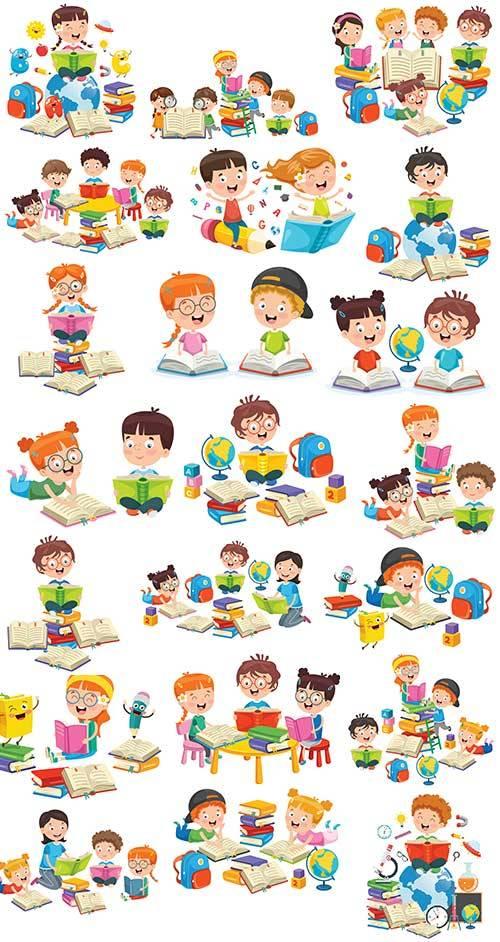 Дети занимаются уроками - Векторный клипарт / Children have lessons - Vecto ...