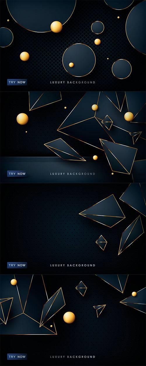 Тёмно-синие абстрактные фоны в векторе / Dark blue abstract backgrounds in  ...