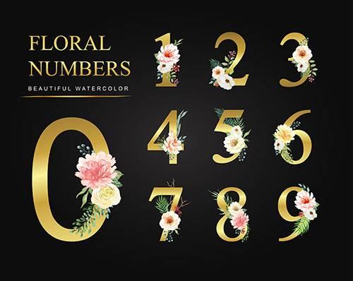 Золотые цифры с цветами - Векторный клипарт / Golden numbers with flowers - ...