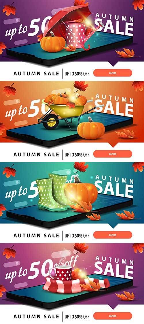 Осенние баннеры - 5 - Векторный клипарт / Autumn banners - 5 - Vector Graph ...