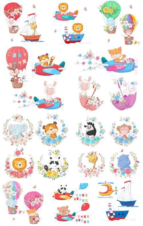 Детский клипарт с животными в векторе / Children`s clipart with animals in  ...