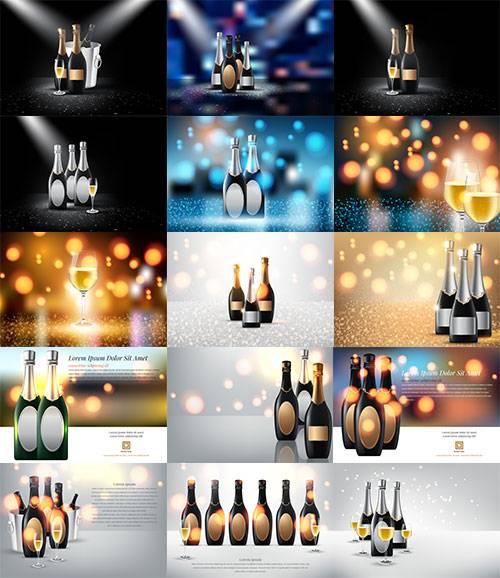 Шампанское и вино - Векторный клипарт / Champagne and wine - Vector Graphic ...