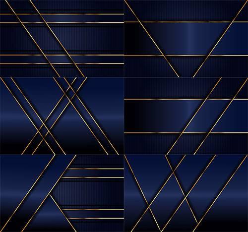 Синие фоны с золотыми линиями в векторе / Blue backgrounds with golden line ...