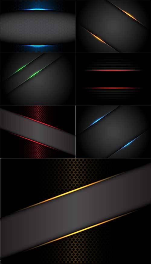Тёмные фоны с разноцветными линиями в векторе / Dark backgrounds with color ...