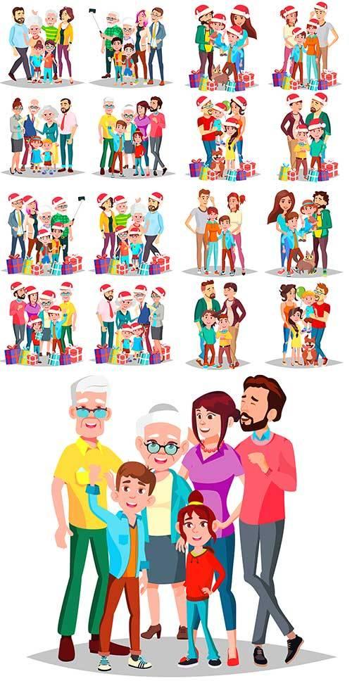 Семья с новогодними подарками - Векторный клипарт / Family with New Year pr ...