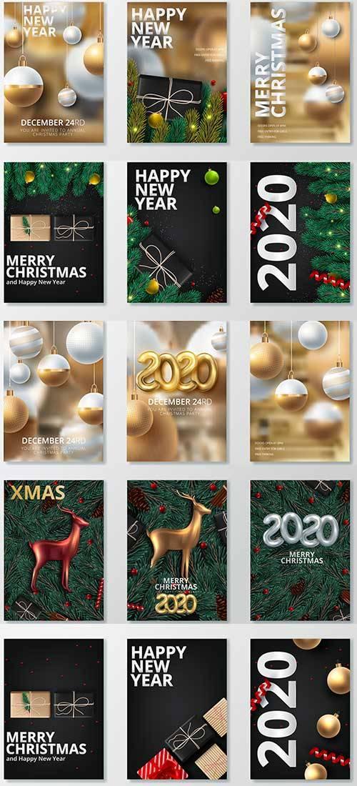 Новогодние баннеры - 4 - Векторный клипарт / Christmas banners - 4 - Vector ...