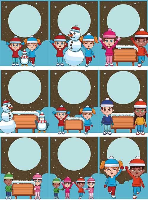 Зимние открытки в векторе / Winter cards in vector