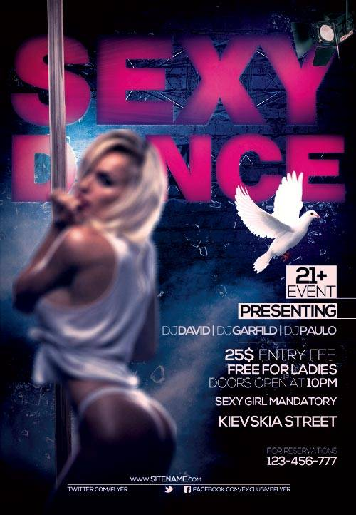 Sexy dance psd flyer template