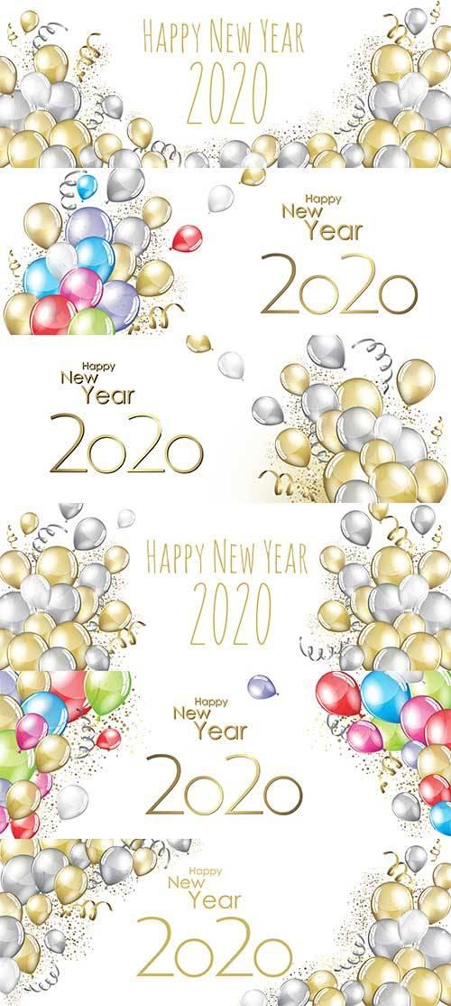 Фоны с шарами 2020 - Векторный клипарт / Backgrounds with balls 2020 - Vect ...