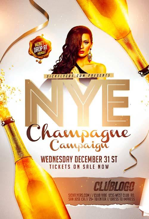 Champagne Campaign psd flyer template