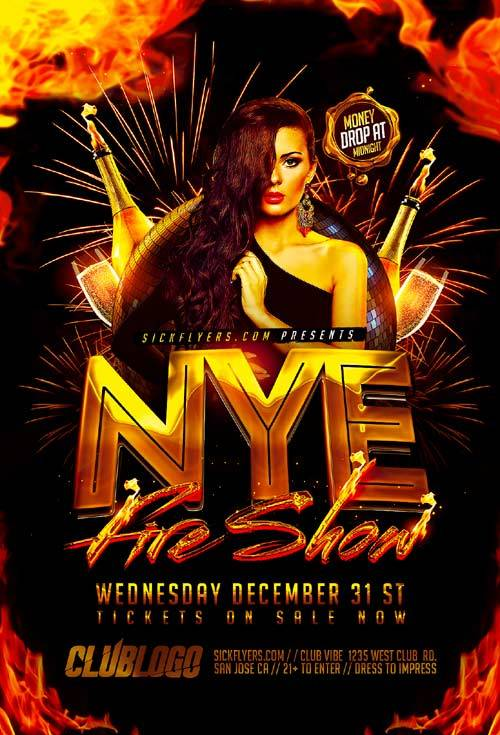 Fire Show psd flyer template
