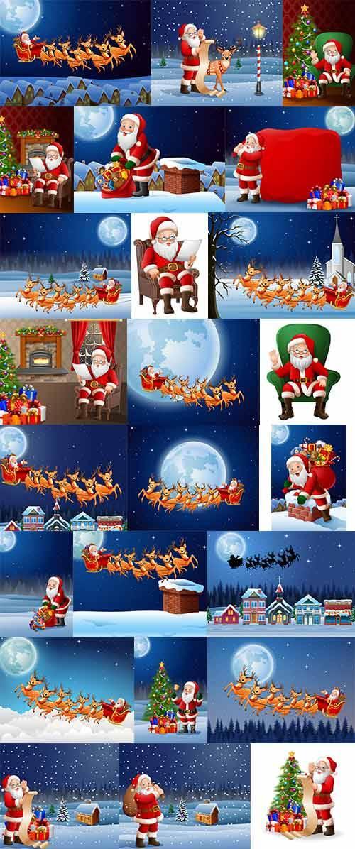 Фоны с Санта Клаус - Векторный клипарт / Backgrounds with Santa Claus - Vec ...