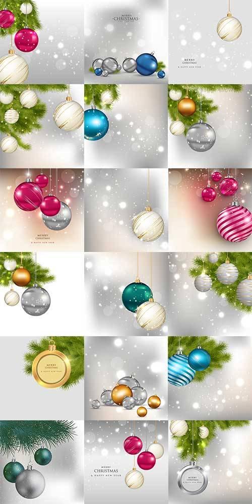 Новогодние фоны с шарами в векторе / Christmas background with balls in vec ...