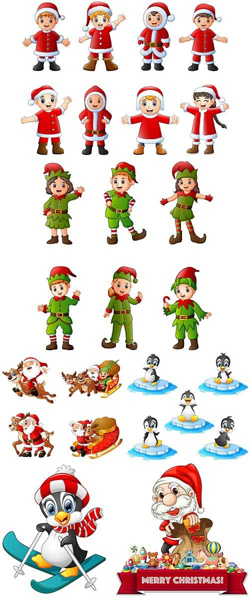 Новогодние персонажи в векторе / New Year characters in vector