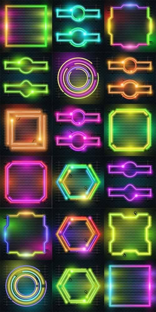 Неоновые фоны - Векторный клипарт / Neon backgrounds - Vector Graphics