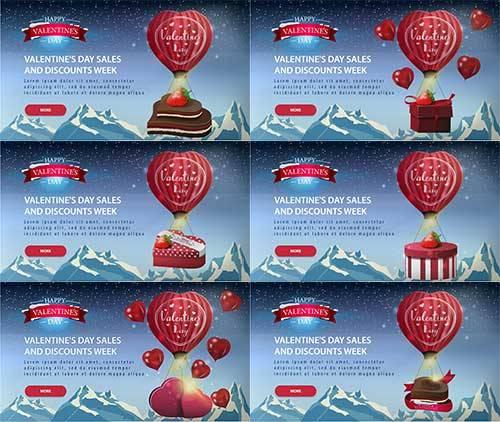 День влюблённых. Баннеры 2 - Векторный клипарт / Valentine's Day. Banners  ...