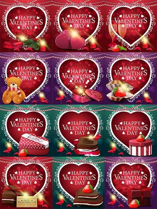 Открытки-поздравления с Днём Влюблённых в векторе / Valentine's Day Greeti ...