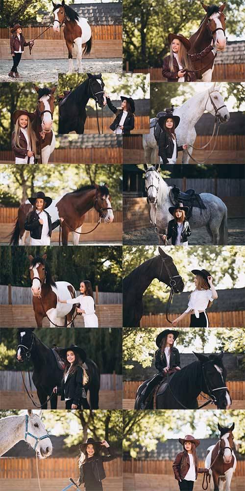 Девушка и лошадь - Растровый клипарт / Girl and horse - Raster clipart