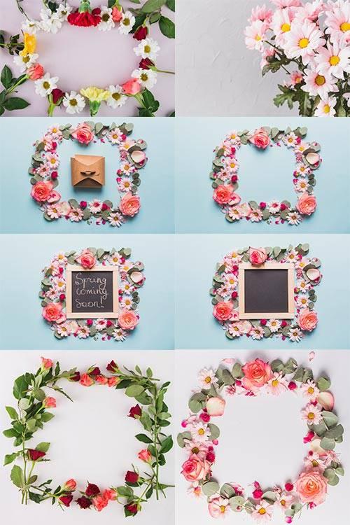 Фоны с цветами - Растровый клипарт / Backgrounds with flowers - Raster clip ...