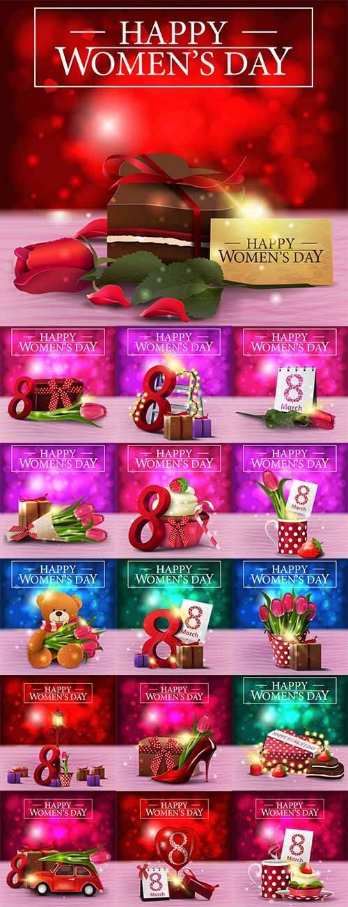 Поздравительные открытки к 8 марта - Векторный клипарт / Greeting cards for ...