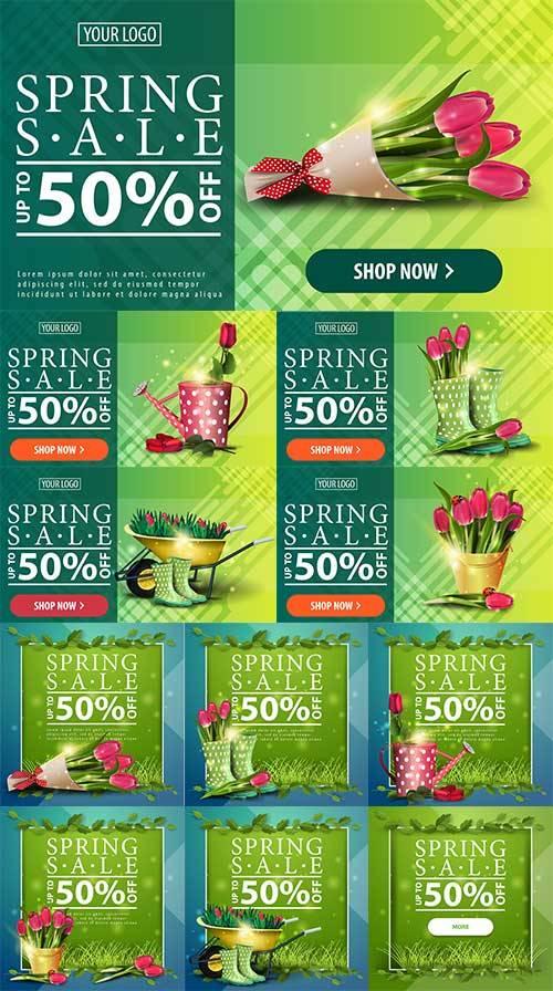 Весенние баннеры - Векторный клипарт / Spring banners - Vector Graphics