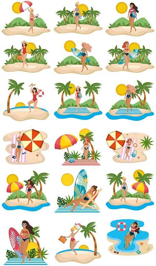 Девушка на пляже - Векторный клипарт