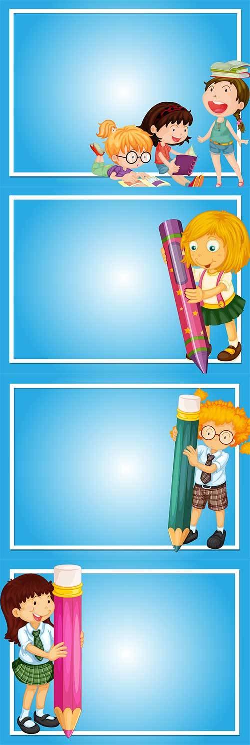 Школьные рамки для фото в векторе
