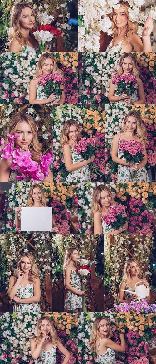 Девушка с цветами - Фотоклипарт