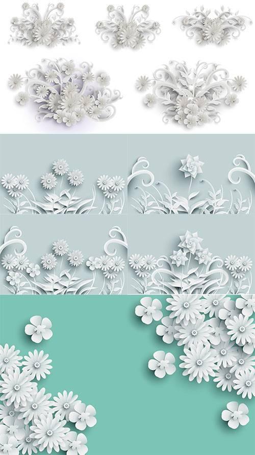 Белые цветы - Векторный клипарт