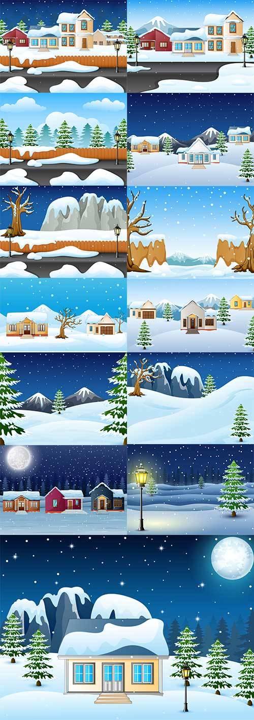 Зимние пейзажи - 3 - Векторные фоны