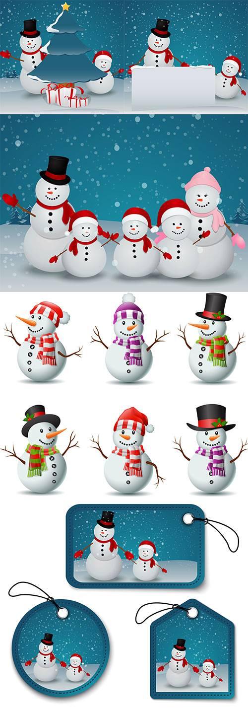 Весёлые снеговики - Векторный клипарт