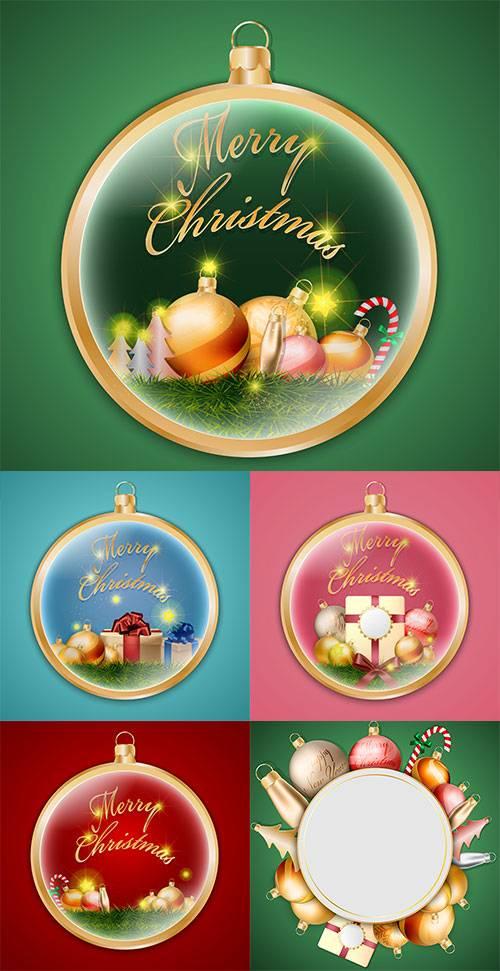Векторные фоны с новогодними шарами