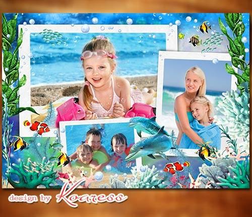Детский коллаж для фото летнего отдыха