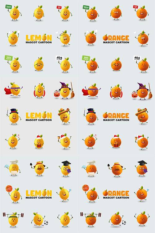 Весёлые эмоции апельсина и лимона - Векторный клипарт