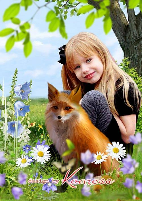 Детский коллаж для фото на природе - Лисичка-сестричка