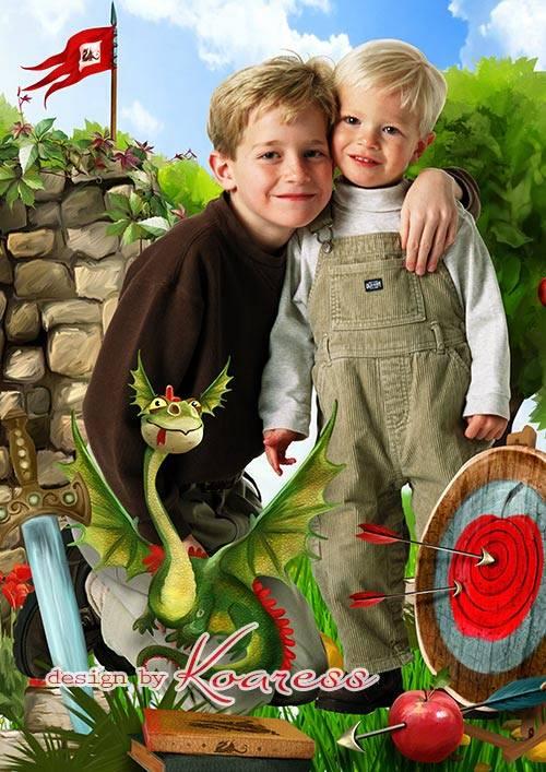 Детский сказочный коллаж для фото - Рыцари